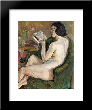 Reading Nude (Nu A La Lecture): Modern Black Framed Art Print by Theodor Pallady