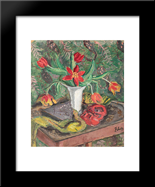 Still Life With Lilies, Fan And Red Mask: Modern Black Framed Art Print by Theodor Pallady