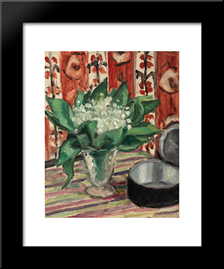 Still Life With May Lilies: Modern Black Framed Art Print by Theodor Pallady