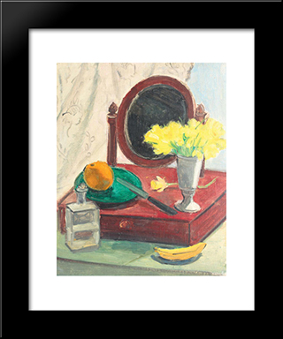 Still Life With Narcissus And Mirror: Modern Black Framed Art Print by Theodor Pallady