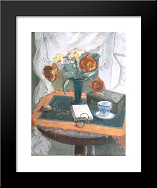 Still Life With Peonies And Clock: Modern Black Framed Art Print by Theodor Pallady