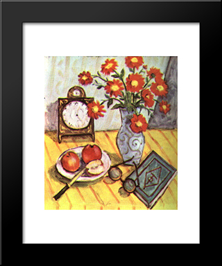 Still Life With Red Flowers: Modern Black Framed Art Print by Theodor Pallady