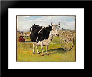 A Black-And-White Cow: Modern Black Framed Art Print by Theodor Philipsen