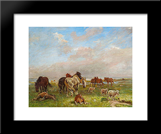 A Group Of Horses, Saltholmen: Modern Black Framed Art Print by Theodor Philipsen