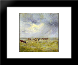 A Shower: Modern Black Framed Art Print by Theodor Philipsen