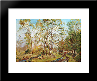 At The Black Stream, Mejlgaard. Study: Modern Black Framed Art Print by Theodor Philipsen