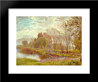 Autumn Landscape: Modern Black Framed Art Print by Theodor Philipsen