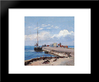 Brakkebroen Landing Stage On Saltholm: Modern Black Framed Art Print by Theodor Philipsen