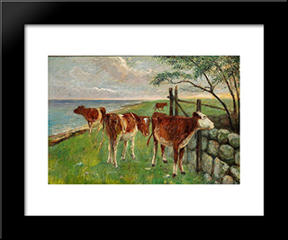 Cattle Near A Gate, Saltholm: Modern Black Framed Art Print by Theodor Philipsen
