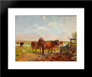 Cattle On Saltholm: Modern Black Framed Art Print by Theodor Philipsen