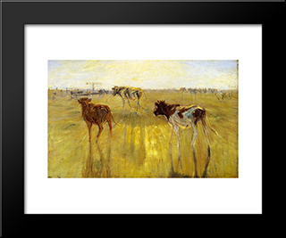 Cattle Seen Against The Sun On The Island Of Saltholm. A Color Study: Modern Black Framed Art Print by Theodor Philipsen