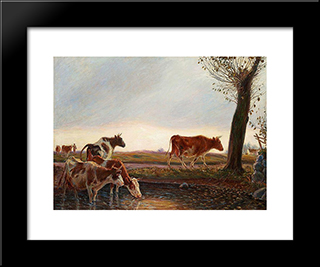 Cows Homeward Bound In The Evening: Modern Black Framed Art Print by Theodor Philipsen