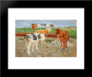 Cows Near The Well At Gammelgaard, Saltholm: Modern Black Framed Art Print by Theodor Philipsen
