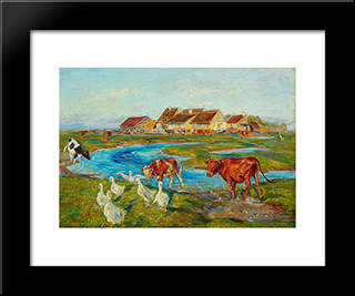 Homeward At Milking-Time. Evening. Saltholm: Modern Black Framed Art Print by Theodor Philipsen