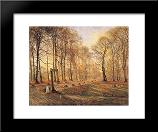 Late Autumn Day In The Jgersborg Deer Park, North Of Copenhagen: Custom Black Wood Framed Art Print by Theodor Philipsen