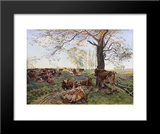 Malkeplads Ved Dyrehavegard: Custom Black Wood Framed Art Print by Theodor Philipsen