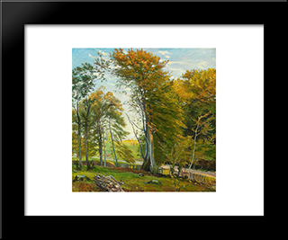 Road Through The Woods, Autumn: Modern Black Framed Art Print by Theodor Philipsen