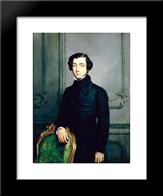 Alexis De Tocqueville: Modern Black Framed Art Print by Theodore Chasseriau