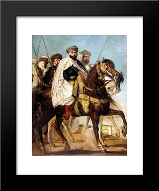 Ali Ben-Hamet, Caliph Of Constantine And Chief Of The Haractas, Followed By His Escort: Modern Black Framed Art Print by Theodore Chasseriau