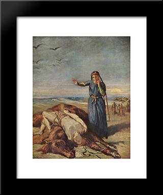 Cossack Girl At Mazeppa 'S Body: Modern Black Framed Art Print by Theodore Chasseriau