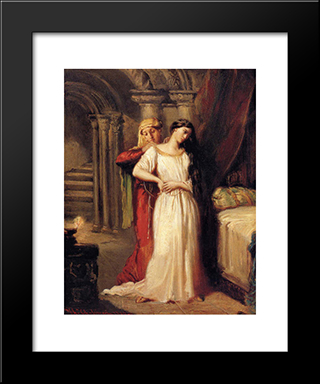 Le Coucher De Desdemone: Modern Black Framed Art Print by Theodore Chasseriau
