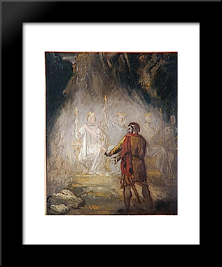 Macbeth, The Apparition Of The Kings: Modern Black Framed Art Print by Theodore Chasseriau
