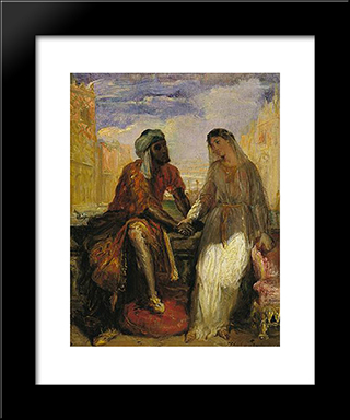 Othello And Desdemona In Venice: Modern Black Framed Art Print by Theodore Chasseriau