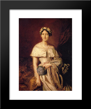 Portrait De Mlle De Cabarrus: Modern Black Framed Art Print by Theodore Chasseriau