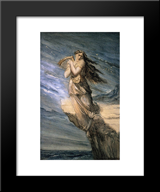Sappho Leaping Into The Sea From The Leucadian Promontory: Modern Black Framed Art Print by Theodore Chasseriau