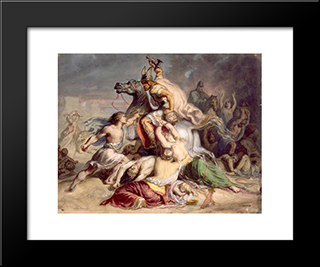 Scene De Bataille, Guerrier Gaulois A Cheval: Modern Black Framed Art Print by Theodore Chasseriau