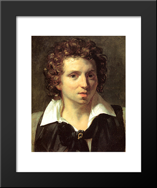 A Portrait Of A Young Man: Modern Black Framed Art Print by Theodore Gericault