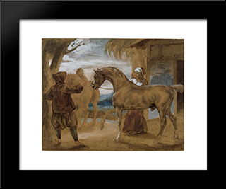 Arabian Stallion Led By Two Arabians To Breed: Custom Black Wood Framed Art Print by Theodore Gericault