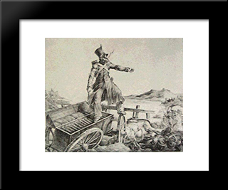 Artillery Caisson: Custom Black Wood Framed Art Print by Theodore Gericault