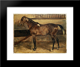 Brown Horse In The Stalls: Modern Black Framed Art Print by Theodore Gericault