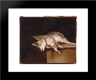 Dead Cat: Modern Black Framed Art Print by Theodore Gericault