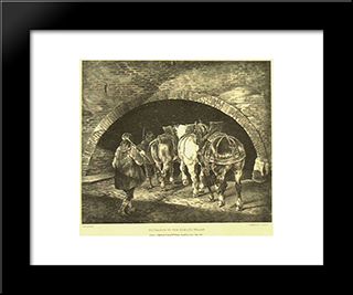 Entrance To The Adelphi Wharf: Custom Black Wood Framed Art Print by Theodore Gericault