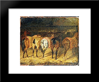Five Horses Seen From Behind With Croupes In A Stable: Modern Black Framed Art Print by Theodore Gericault