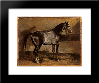 Gray Horse Rack: Custom Black Wood Framed Art Print by Theodore Gericault