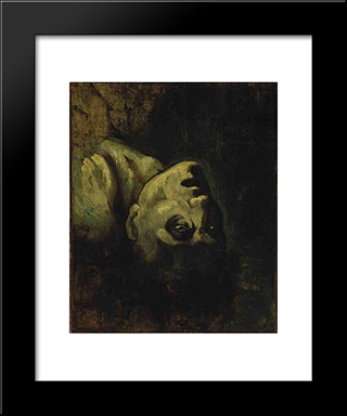 Head Of A Drowned Man: Modern Black Framed Art Print by Theodore Gericault