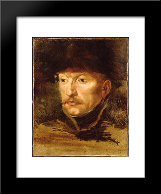 Head Of A Horseman: Modern Black Framed Art Print by Theodore Gericault
