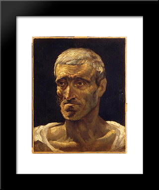 Head Of A Shipwrecked Man (Study For The Raft Of Medusa): Modern Black Framed Art Print by Theodore Gericault