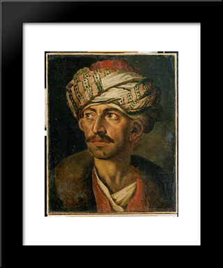 Head Of An Oriental, Or Portrait Presumed To Be Mustapha: Modern Black Framed Art Print by Theodore Gericault