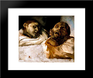 Heads Of Torture Victims (Study For The Raft Of The Medusa): Modern Black Framed Art Print by Theodore Gericault