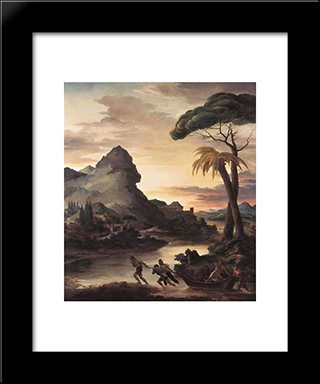 Heroic Landscape With Fishermen: Modern Black Framed Art Print by Theodore Gericault