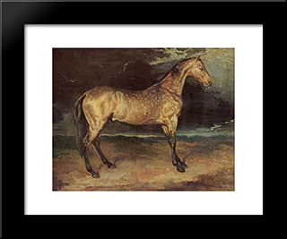 Horse In The Storm: Custom Black Wood Framed Art Print by Theodore Gericault