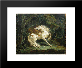 Horse Attacked By A Lion: Modern Black Framed Art Print by Theodore Gericault