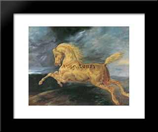 Horse Frightened By Lightning: Modern Black Framed Art Print by Theodore Gericault