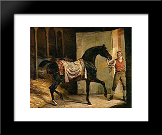 Horse Leaving A Stable: Modern Black Framed Art Print by Theodore Gericault