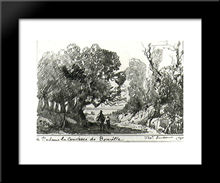 A Path In The Forest: Custom Black Wood Framed Art Print by Theodore Rousseau