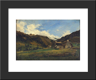 A Hilly Landscape In Auvergne: Modern Black Framed Art Print by Theodore Rousseau
